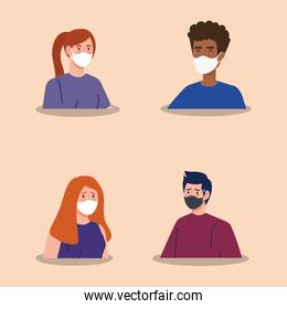 group people using face mask