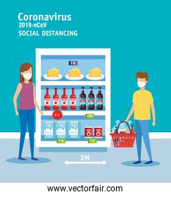 campaign of social distancing for covid 19 in supermarket