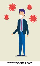 businessman using face mask with particles covid 19