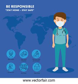 campaign of be responsible stay at home with paramedic using face mask