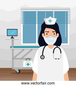 nurse tired using face mask in consult room