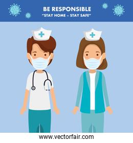 campaign of be responsible stay at home with group nurses