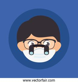 face of man using face mask with eyeglasses and binocular loupes