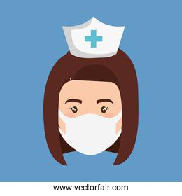 face of nurse using face mask isolated icon