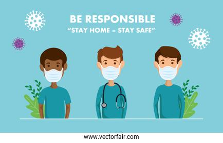 campaign of be responsible stay at home with paramedics using face mask