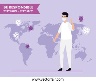 campaign of be responsible stay at home with paramedic and world map