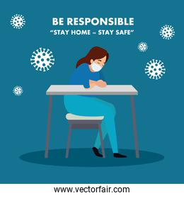 campaign of be responsible stay at home with paramedic female worried