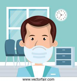 doctor male using face mask in consult room