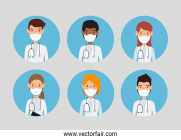 group doctors using face mask isolated icon