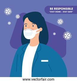 campaign of be responsible stay at home with doctor female