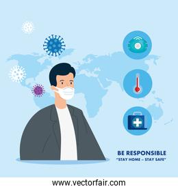 campaign of be responsible stay at home with doctor and medical icons