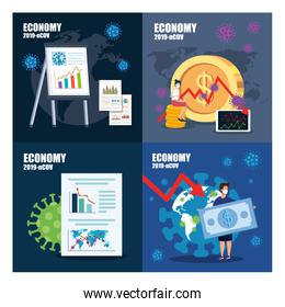 set banners of economy impact by 2019 ncov with icons