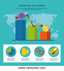 infographic of economy impact by covid 19 and business icons
