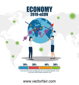 economy impact by 2019 ncov with couple and world planet