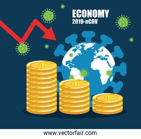 economy impact by 2019 ncov with world planet and icons