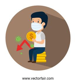 businessman using face mask sitting in pile coins and particles covid 19