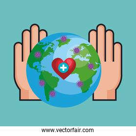 hands and world planet with particles covid 19