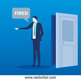 scene of fired of businessman avatar character