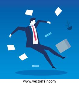 businessman unemployed falling with documents