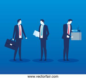 group of businessmen unemployed avatar characters