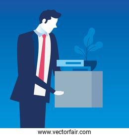 businessman unemployed sad and box with objects