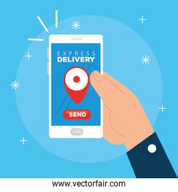 hand using smartphone with app express delivery