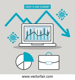 economic recession infographic banner with statistics bars in laptop