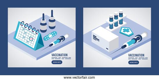 vaccination service with injection and calendar isometric