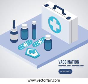 vaccination service with medical kit isometric icons