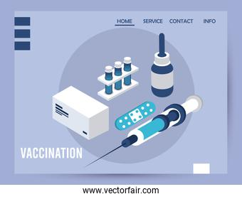 vaccination service with injection isometric icons