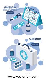 vaccination service with medical kit and calendar