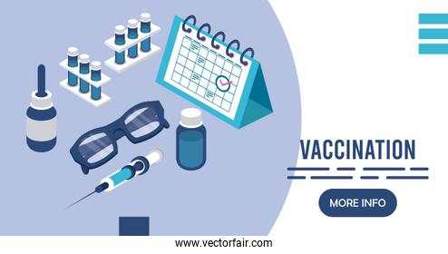vaccination service with calendar isometric icons