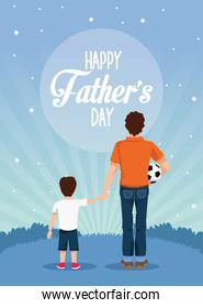 fathers day card with dad and son and balloon soccer