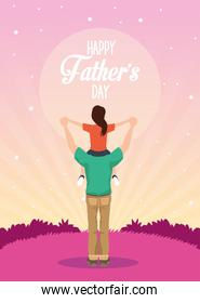 fathers day card with dad carrying daughter characters