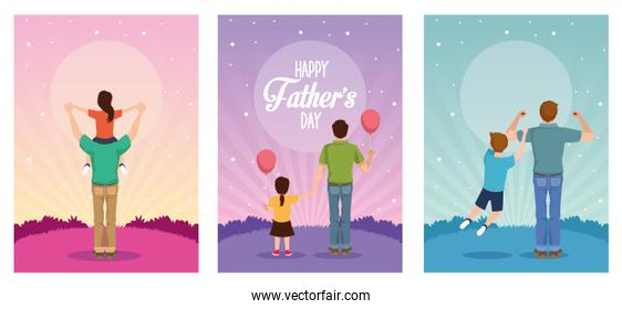 fathers day card with daddies and kids characters