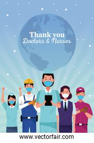 group of workers using face masks with thank you doctors and nurses message