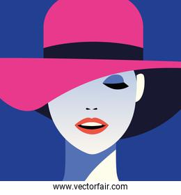 beautiful woman fashionable with hat