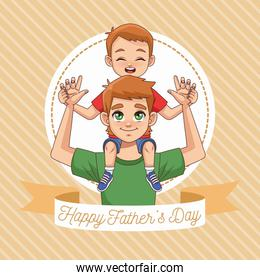 fathers day card with dad carrying son with ribbon frame
