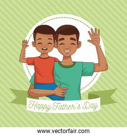 fathers day card with afro dad carrying son with ribbon frame