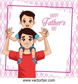 fathers day card with dad carrying son and lettering