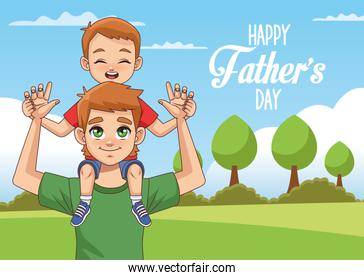 fathers day card with dad carrying son in landscape