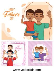 fathers day card with daddies carrying sons characters