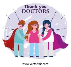 thanks you doctors, female physician and nurse with girl vaccine medication