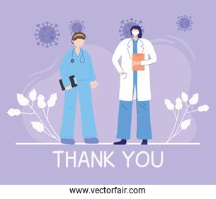 thanks, doctors, nurses, female physician and nurse with mask and medical report