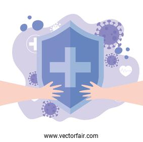 thanks, doctors, nurses, shield protection hands support medical