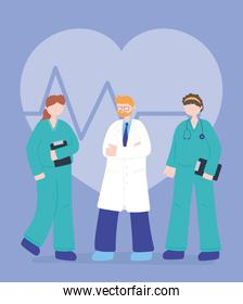 thanks, doctors, nurses, physician and nurses staff medical characters