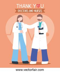 thanks, doctors, nurses, physician female and male with characters