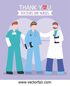thanks, doctors, nurses, physician with male and female nurses staff hospital support