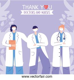 thanks, doctors, nurses, women and man physicians staff medical care