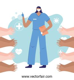 thanks, doctors, nurses, female nurse with mask and hands greeting